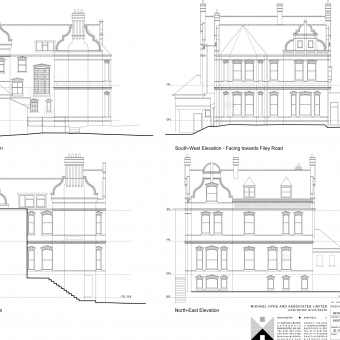 Existing elevations produced from photographs (counting bricks) and surveys using AutoCAD. More samples are available under 'General'.