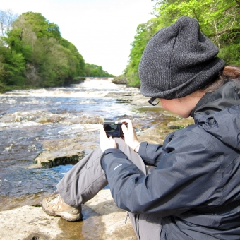 Enjoying the weather, taking pictures of the waterfall in Aysgarth.